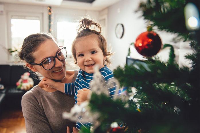 Mum and baby at Christmas